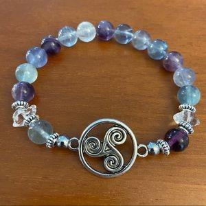 Herkimer diamonds & fluorite celtic knot bracelet